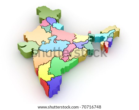 Three-dimensional map of India on white isolated background. 3d - stock photo