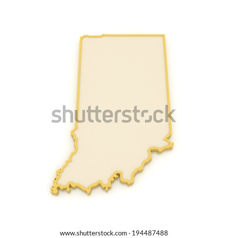 Three-dimensional map of Indiana. USA. 3d - stock photo