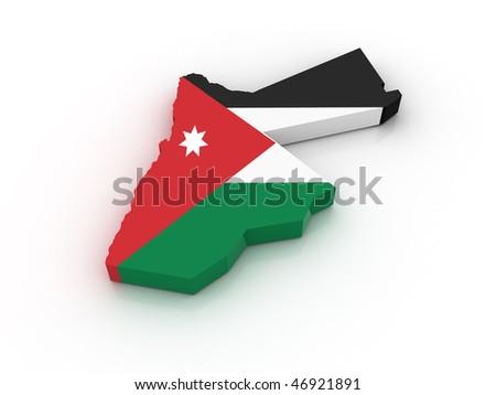 Three dimensional map of Jordan in Jordan flag colors. - stock photo
