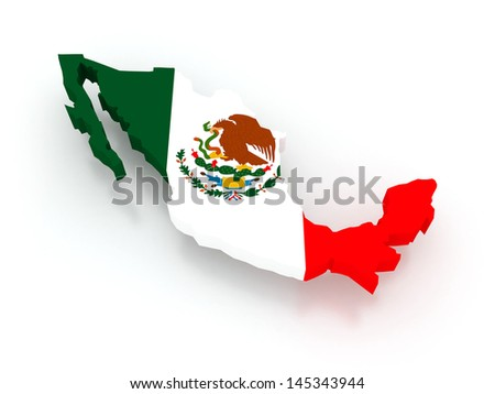 Three-dimensional map of Mexico. 3d