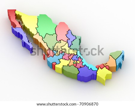 Three-dimensional map of Mexico on white isolated background. 3d - stock photo