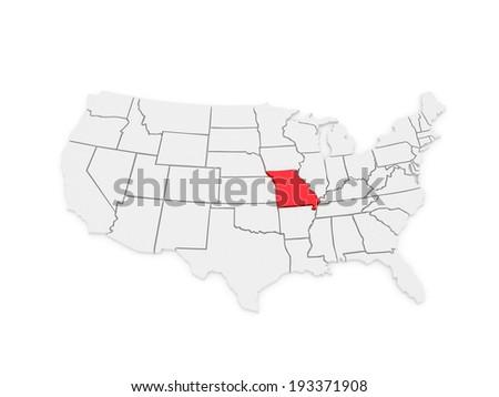 Threedimensional Map Missouri Usa D Stock Illustration - Missouri usa map