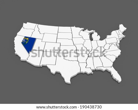 Three-dimensional map of Nevada. USA. 3d