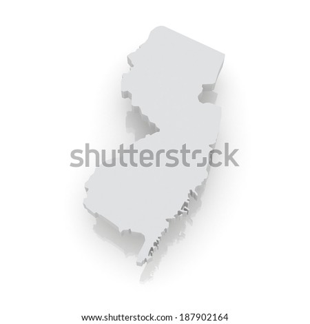 Three-dimensional map of New Jersey. USA. 3d - stock photo