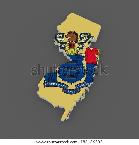 Three-dimensional map of New Jersey. USA. 3d