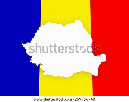 Three-dimensional map of Romania. 3d - stock photo