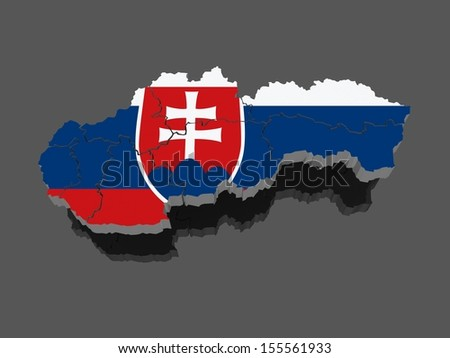 Three-dimensional map of Slovakia. 3d