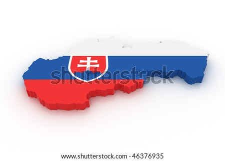 Three dimensional map of Slovakia in Slovak flag colors.