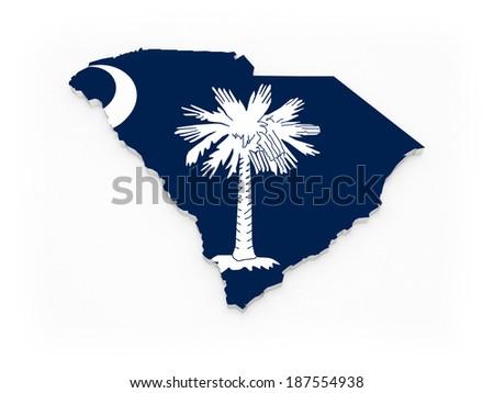 Three-dimensional map of South Carolina. USA. 3d - stock photo