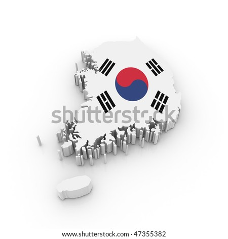 Three dimensional map of South Korea in South Korean flag colors.