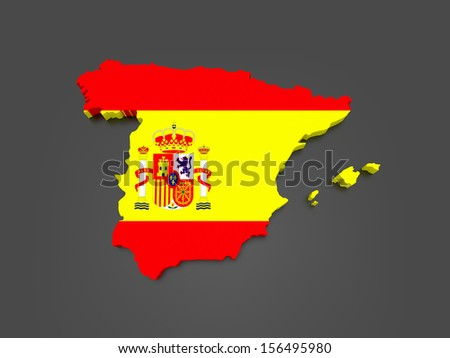Three-dimensional map of Spain. 3d - stock photo