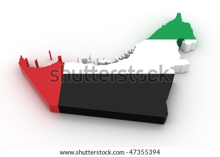 Three dimensional map of United Arab Emirates in United Arab Emirates flag colors. - stock photo