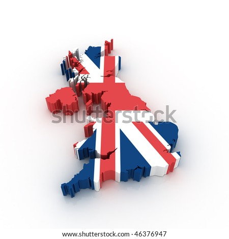 Three dimensional map of United Kingdom in British flag colors. - stock photo