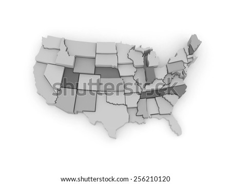 Three-dimensional map of USA. 3d - stock photo