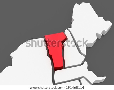 Three-dimensional map of Vermont. USA. 3d - stock photo