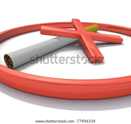 Three-dimensional mark, no smoking - stock photo