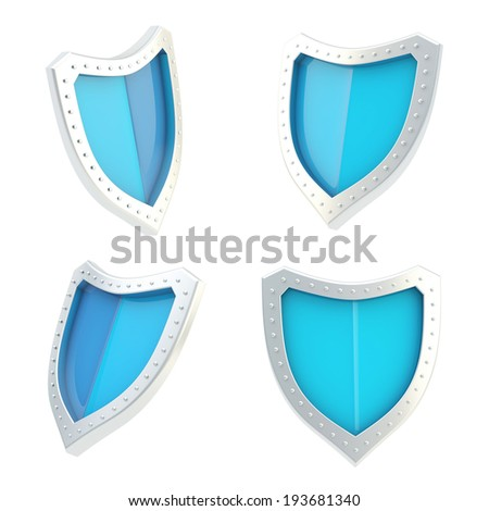 Three-dimensional metal chrome and blue shield symbol isolated over the white background, set of four foreshortenings - stock photo