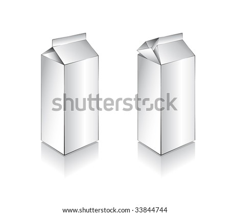 Three Dimensional Milk Box with, shadow and reflections