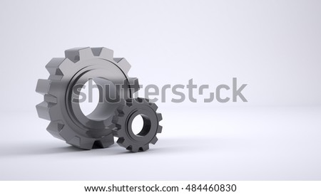Three-dimensional model of a gear on a white background