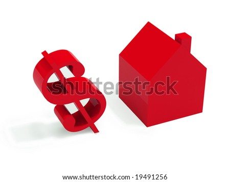three dimensional model of a house with a dollar's symbol; it suggests the idea of real estate and financial business. FIND MORE in my portfolio - stock photo