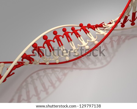 Three-dimensional model of a spiral of DNA in the form of abstract figures of the person