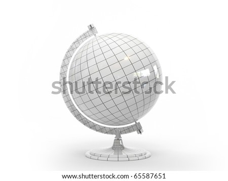 Three-dimensional model of the globe with a white grid on a white background