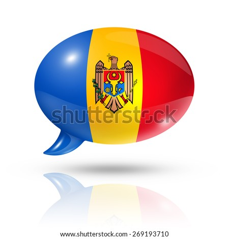 three dimensional Moldova flag in a speech bubble isolated on white with clipping path - stock photo