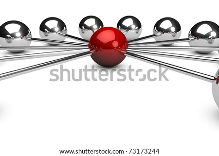 Three dimensional network concept on white background with a red sphere - stock photo