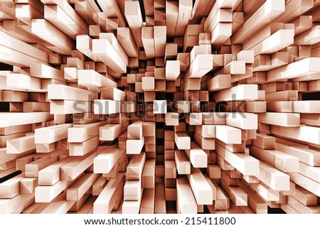 Three dimensional orange tinted reflective checkered cube background - stock photo
