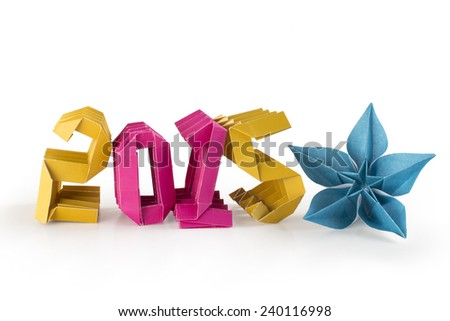 Three-dimensional origami paper craft number 2015 isolated on white background for Merry Christmas and Happy New Year 2015 - stock photo