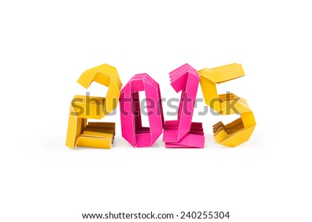 Three dimensional origami paper craft number 2015 isolated on white background for Merry Christmas and Happy New Year 2015 - stock photo
