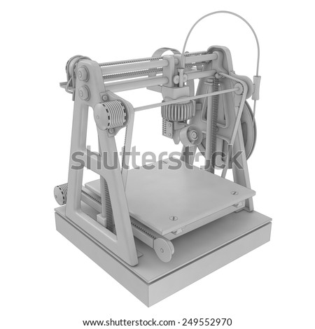 three-dimensional printer isolated on white - stock photo