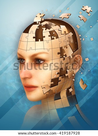 Three dimensional puzzle creating a female head. 3D illustration.