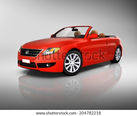 Three-dimensional red convertible.