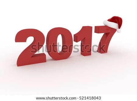 three-dimensional red figures 2017 new year wearing a hat santa claus isolated on white background 3d render