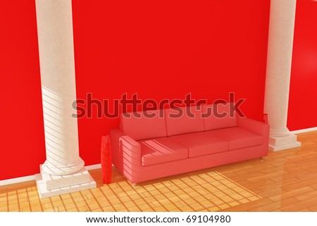 Three dimensional red sofa with column and two red vase