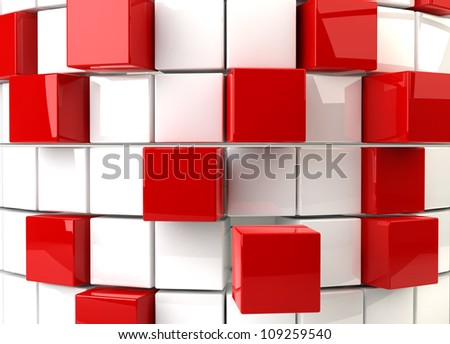 Three dimensional render of a abstract red and white cubes - stock photo