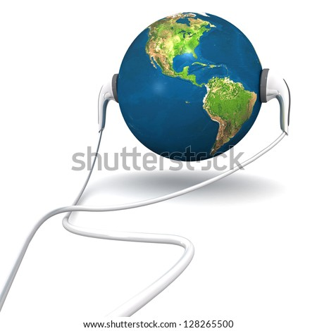 Three dimensional render of a globe with earphones. Elements of this image furnished by NASA - stock photo