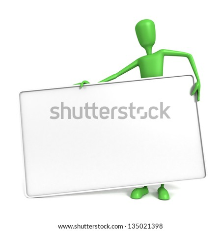Three dimensional render of a green 3D man holding a large blank heavy sign. Space for text.