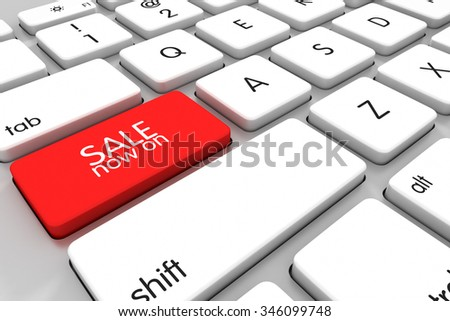 Three dimensional render of a modern keyboard advertising a sale - stock photo