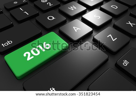 Three dimensional render of a modern keyboard with 2016 - stock photo