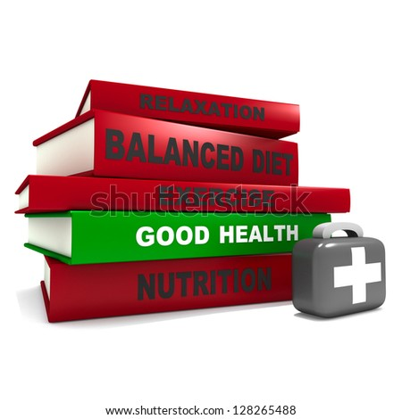 Three dimensional render of a pile of books and a first aid kit for the concept of good health - stock photo