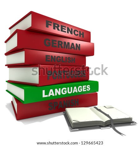 Three dimensional render of a pile of books for the concept of languages