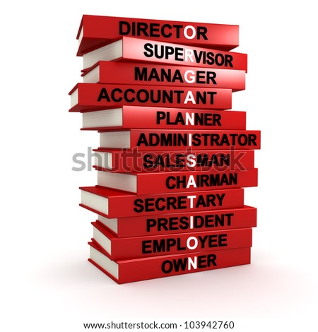 Three dimensional render of a pile of books that make up the word ORGANISATION - stock photo