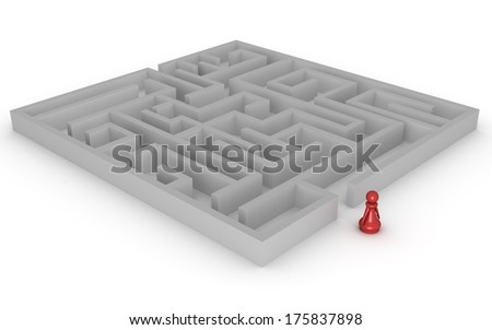 Three dimensional render of a red pawn about to enter a complex maze. Concept for challenge. - stock photo