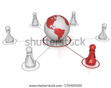 Three dimensional render of a red pawn connected to the globe. Concept for Global. - stock photo
