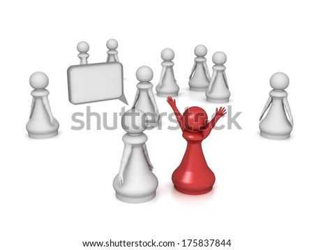 Three dimensional render of a red pawn happy to have heard the news. Concept for happiness. - stock photo