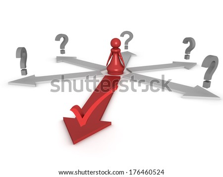 Three dimensional render of a red pawn making the correct choice. Concept for choice. - stock photo