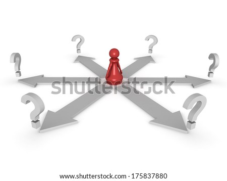 Three dimensional render of a red pawn surrounded by question marks. Concept for choice.