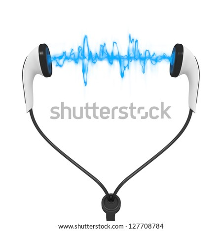 Three dimensional render of a set of earphones with sound waves - stock photo